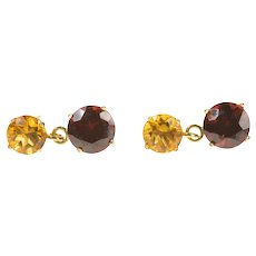 14K Round Citrine Garnet Dangle Stud Earrings Yellow Gold [CXXC]