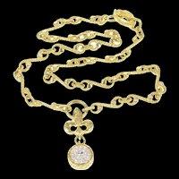 "18K 0.60 Ctw Sapphire Diamond Torrini Firenze Necklace 16.25"" Yellow Gold [CXXP]"