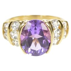 10K Amethyst Cubic Zirconia Channel Accent Cocktail Ring Size 7 Yellow Gold [CXXP]
