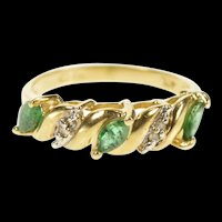 10K Marquise Emerald Diamond Accent Band Ring Size 5.5 Yellow Gold [CXXP]