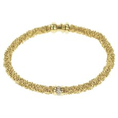 "14K Michael Dawkins Diamond Inset Starry Chain Bracelet 7.5"" Yellow Gold [CXXP]"