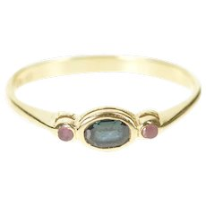 14K Oval Sapphire Ruby Accent Three Stone Ring Size 4.25 Yellow Gold [CXXF]