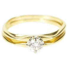 18K 0.28 Ct Diamond Solitaire Engagement Bridal Ring Size 5.25 Yellow Gold [CXXP]