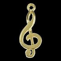 14K Fancy Treble Clef Music Symbol Musician Charm/Pendant Yellow Gold [CXXF]