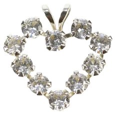 10K Cubic Zirconia Inset Heart Love Symbol Charm/Pendant White Gold [CXXF]