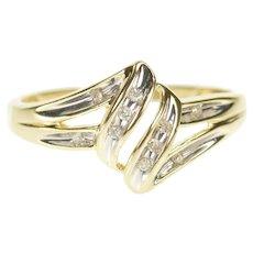 10K Wavy Tiered Channel Curvy Freeform Diamond Ring Size 7 Yellow Gold [CXXF]