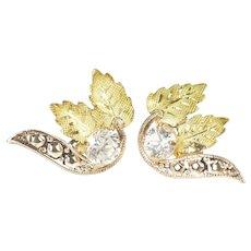 10K Two Tone Black Hills Leaf Cubic Zirconia Stud Earrings Yellow Gold [CXXF]