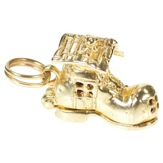 14K 3D Articulated Old Lady Shoe Nursery Rhyme Charm/Pendant Yellow Gold [CXXF]