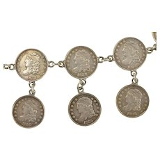 """Sterling Silver 1829-1836 Capped Bust Dime Coin Chain Bracelet 7""""  [CXXW]"""