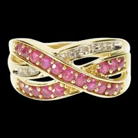 10K 1.00 Ctw Ruby Diamond Criss Cross Wavy Band Ring Size 7 Yellow Gold [CXXW]