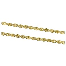 "14K 2.2mm Rope Link Classic Twist Rolling Chain Necklace 20.25"" Yellow Gold [CXXF]"