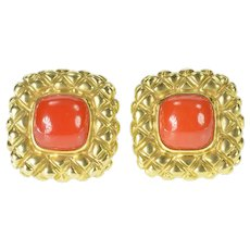18K Coral Quilted Squared French Clip Back Earrings Yellow Gold [CXXW]
