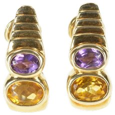 14K Citrine Amethyst Grooved French Clip Statement Earrings Yellow Gold [CXXW]