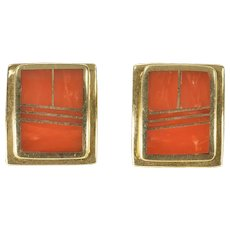 14K Squared Coral Inlay Geometric Curved Stud Earrings Yellow Gold [CXXW]