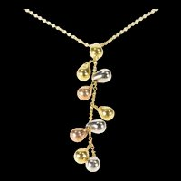 "18K Tri Tone Tear Dangle Fringe Statement Chain Necklace 16.25"" Yellow Gold [CXXP]"