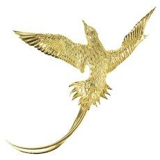 18K Diamond Ornate Soaring Bird Sparrow Pin/Brooch Yellow Gold [CXXF]