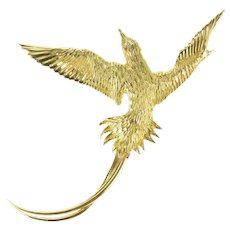 18K Diamond Ornate Soaring Bird Sparrow Pin/Brooch Yellow Gold [CXXW]