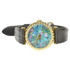 14K Black Opal Chip Inlay Ornate Ladies Women's Watch [CXXF]