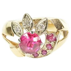 14K 1930's Syn. Ruby Diamond Leaf Cocktail Ring Size 7.25 Yellow Gold [CXXP]