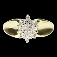 10K Marquise Diamond Inset Textured Cluster Ring Size 6.25 Yellow Gold [CXXP]