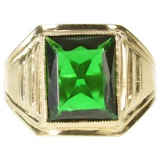 10K 1940's Men's Syn. Emerald Solitaire Statement Ring Size 10.5 Yellow Gold [CXXF]