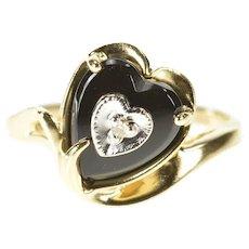 10K Retro Black Onyx Heart Diamond Accent Ring Size 6 Yellow Gold [CXXF]