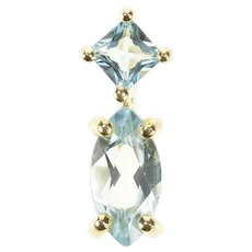 14K Marquise Princess Blue Topaz Tiered Simple Pendant Yellow Gold [CXXP]