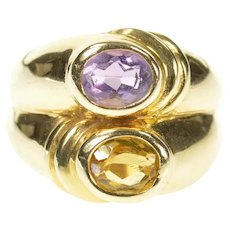 14K Amethyst Citrine Tiered Statement Cocktail Ring Size 8.25 Yellow Gold [CXXW]