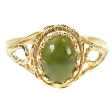 10K Oval Nephrite Cabochon Rope Trim Statement Ring Size 7 Yellow Gold [CXXW]
