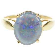 14K Oval Black Opal Doublet Statement Ring Size 8 Yellow Gold [CXXT]