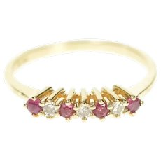 14K Retro Classic Diamond Ruby Wedding Band Ring Size 5.75 Yellow Gold [CXXT]