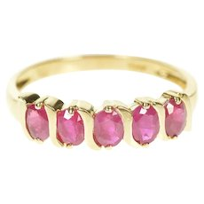 10K Oval Natural Ruby Wavy Five Stone Band Ring Size 7 Yellow Gold [CXXT]