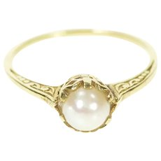10K 6.0mm Pearl Elaborate Scrollwork Engagement Ring Size 7.5 Yellow Gold [CXXT]