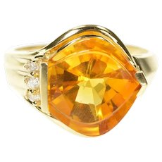 14K Fantasy Cut Citrine Diamond Cocktail Statement Ring Size 7.5 Yellow Gold [CXXT]