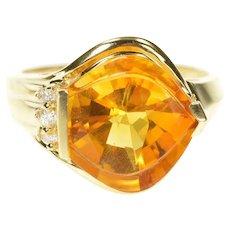 14K Fantasy Cut Citrine Diamond Cocktail Statement Ring Size 7.5 Yellow Gold [CXXW]