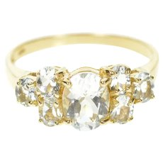 10K Oval Cubic Zirconia Cluster Accent Statement Ring Size 9 Yellow Gold [CXXT]