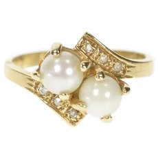 10K Two Pearl Diamond Accent Bypass Engagement Ring Size 7 Yellow Gold [CXXT]