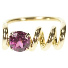 14K Purple Tourmaline Corkscrew Spiral Unique Ring Size 6.5 Yellow Gold [CXXT]