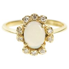 10K 1940's Natural Opal Diamond Halo Engagement Ring Size 6.5 Yellow Gold [CXXT]