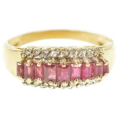 14K Graduated Baguette Ruby Diamond Band Ring Size 7.75 Yellow Gold [CXXT]