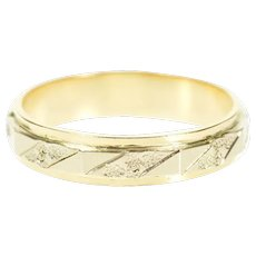 14K Two Tone Floral Pattern Retro Wedding Band Ring Size 5.25 Yellow Gold [CXXT]