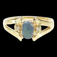 14K Three Stone Oval Black Opal Diamond Accent Ring Size 8.25 Yellow Gold [CXXW]