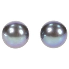 14K 5.9mm Blue Pearl Classic Simple Stud Earrings Yellow Gold [CXXT]