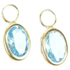 10K Oval Blue Topaz Solitaire Stud Enhancer Earring Jackets Yellow Gold [CXXT]