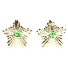 14K Emerald Five Pointed Star Burst Stud Earrings Yellow Gold [CXXT]