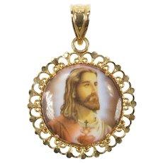 14K Ceramic Christian Faith Jesus Virgin Mary Charm/Pendant Yellow Gold [CXXT]