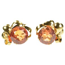 14K 1960's Retro Sim. Mexican Fire Opal Screw Back Earrings Yellow Gold [CXXW]