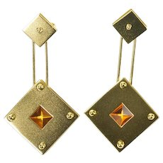18K M. Good Designer Citrine Square Dangle Earrings Yellow Gold [CXXW]