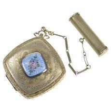 14K White Gold Front Blue Enamel Makeup Compact Lipstick Case   [CXXT]