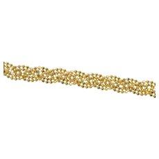 "10K Braided Ball Beaded Link Woven Chain Bracelet 7"" Yellow Gold [CXQX]"